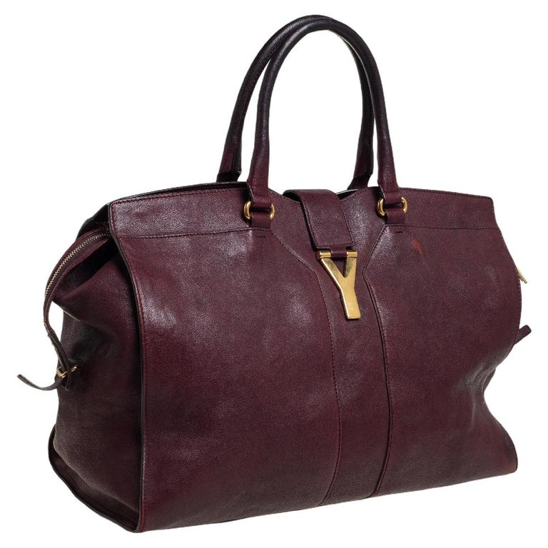 Black Yves Saint Laurent Burgundy Leather Large Cabas Chyc Tote For Sale