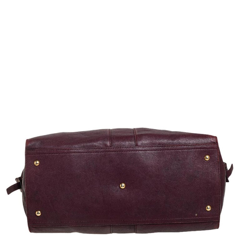 Yves Saint Laurent Burgundy Leather Large Cabas Chyc Tote For Sale 2