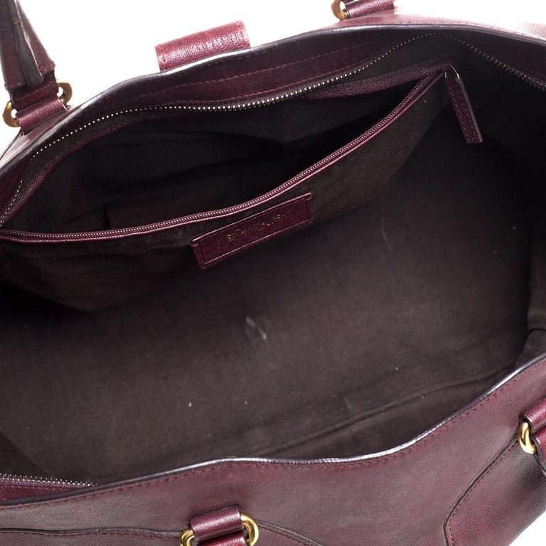Yves Saint Laurent Burgundy Leather Large Cabas Chyc Tote For Sale 3