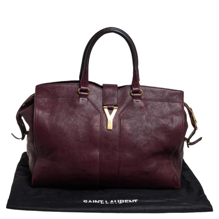 Yves Saint Laurent Burgundy Leather Large Cabas Chyc Tote For Sale 4