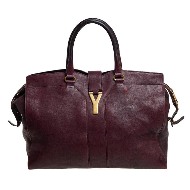 Yves Saint Laurent Burgundy Leather Large Cabas Chyc Tote For Sale