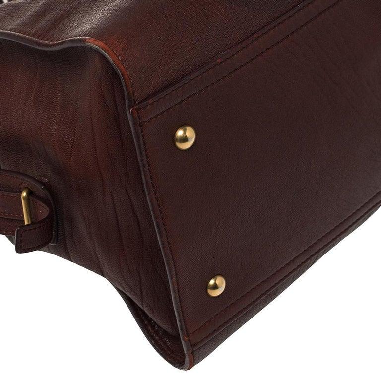 Yves Saint Laurent Burgundy Leather Medium Cabas Y-Ligne Tote For Sale 5