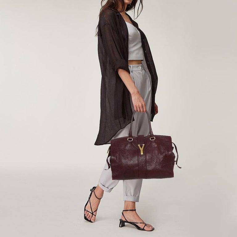 Black Yves Saint Laurent Burgundy Leather Medium Cabas Y-Ligne Tote For Sale