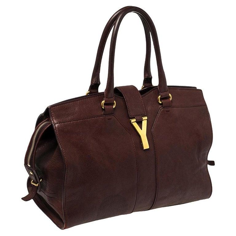 Yves Saint Laurent Burgundy Leather Medium Cabas Y-Ligne Tote In Good Condition For Sale In Dubai, Al Qouz 2