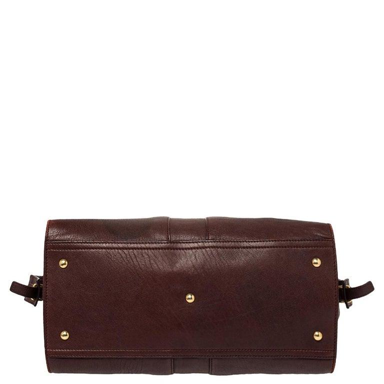 Women's Yves Saint Laurent Burgundy Leather Medium Cabas Y-Ligne Tote For Sale