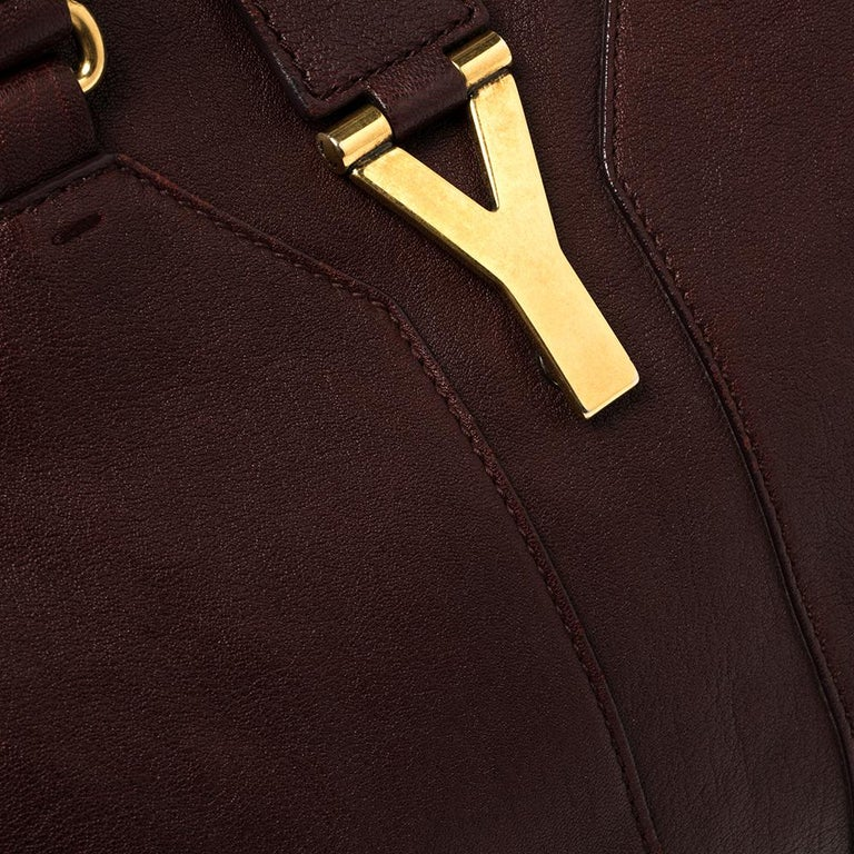 Yves Saint Laurent Burgundy Leather Medium Cabas Y-Ligne Tote For Sale 3