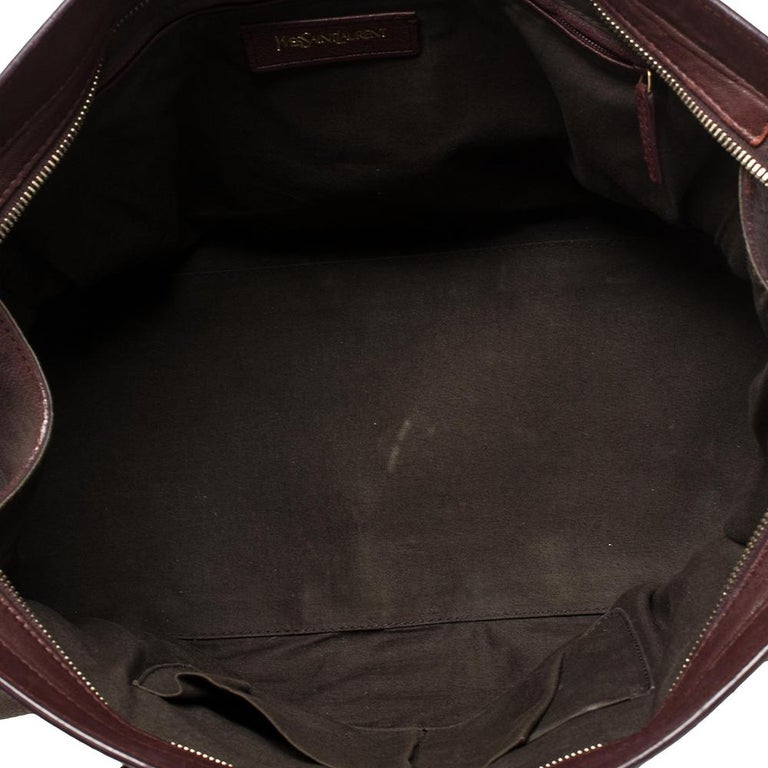 Yves Saint Laurent Burgundy Leather Medium Cabas Y-Ligne Tote For Sale 4