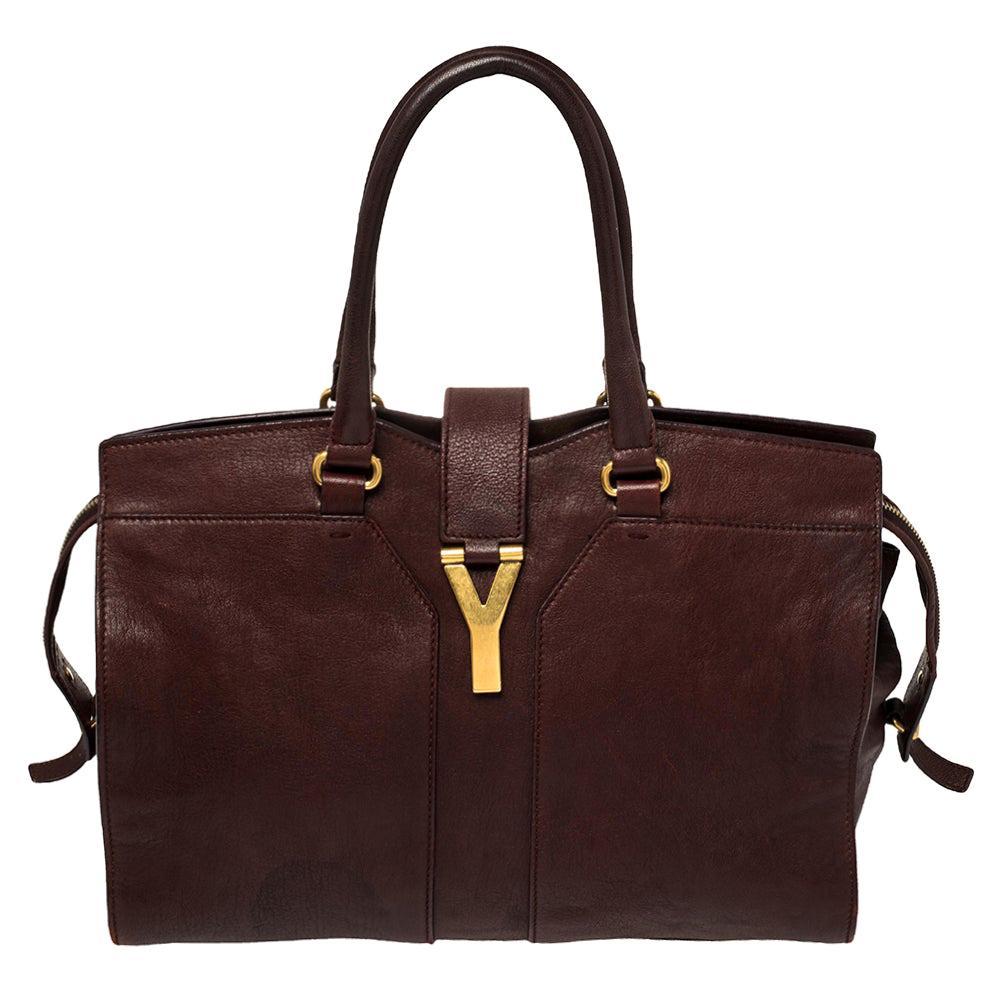 Yves Saint Laurent Burgundy Leather Medium Cabas Y-Ligne Tote