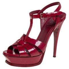 Yves Saint Laurent Burgundy Patent Leather Tribute Platform Sandals Size 37.5
