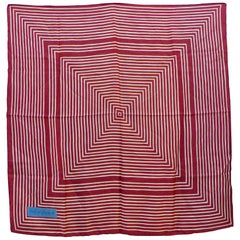 Yves Saint Laurent Burgundy Striped Silk Scarf