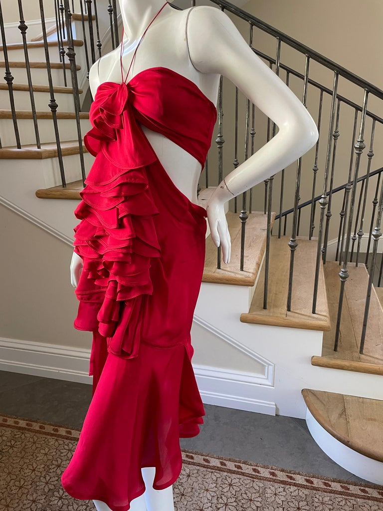 Yves Saint Laurent by Tom Ford 2003 Ruffled Red Silk Dress  For Sale 8