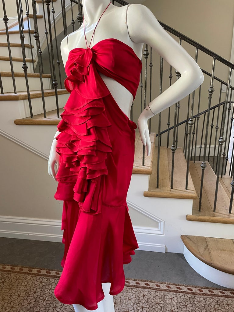Yves Saint Laurent by Tom Ford 2003 Ruffled Red Silk Dress Size Small ( No size label) Please check measurements Bust 34