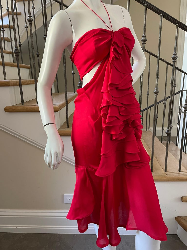 Yves Saint Laurent by Tom Ford 2003 Ruffled Red Silk Dress  In Excellent Condition For Sale In San Francisco, CA