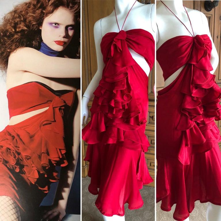 Women's Yves Saint Laurent by Tom Ford 2003 Ruffled Red Silk Dress  For Sale