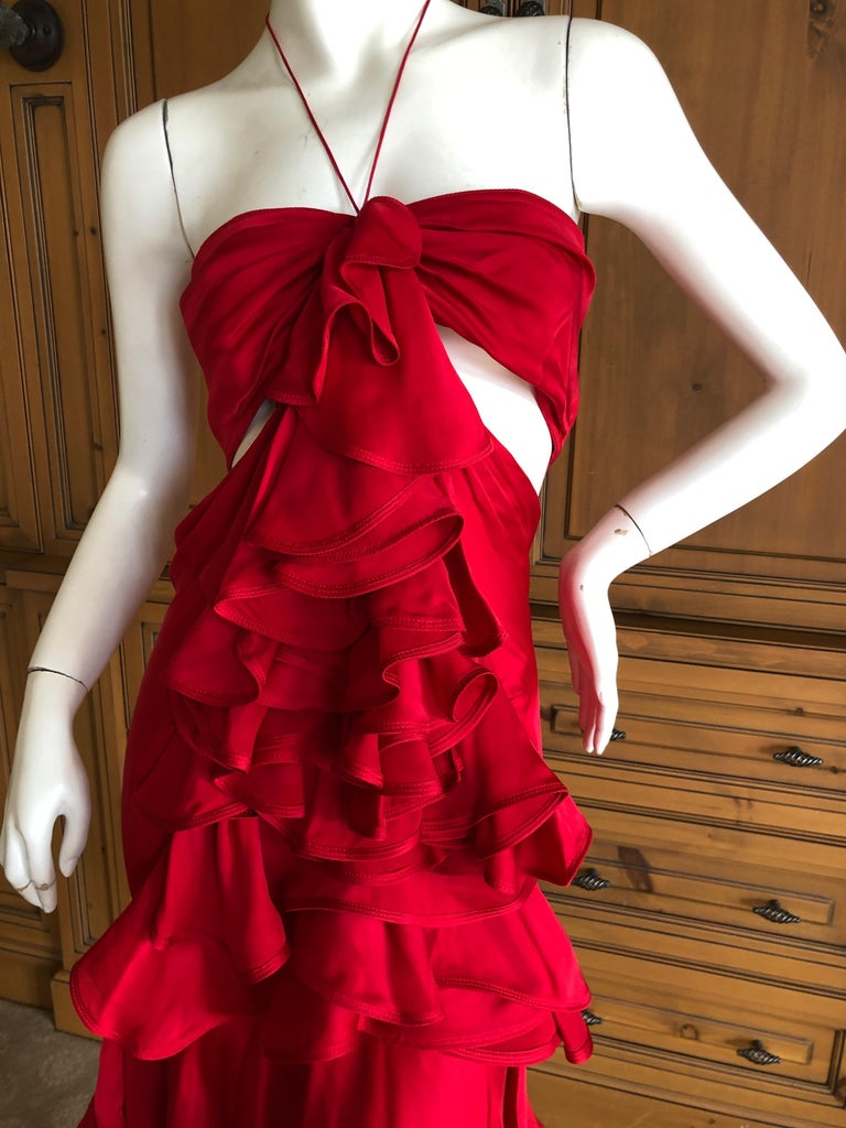 Yves Saint Laurent by Tom Ford 2003 Ruffled Red Silk Dress  For Sale 3