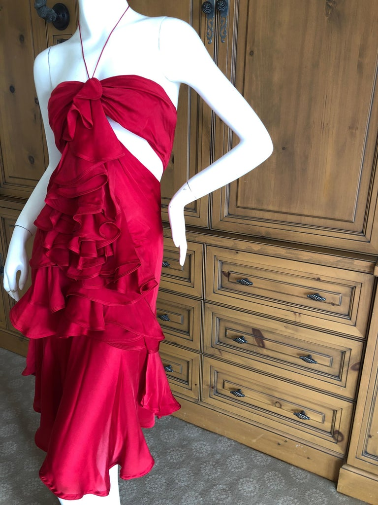 Yves Saint Laurent by Tom Ford 2003 Ruffled Red Silk Dress  For Sale 4