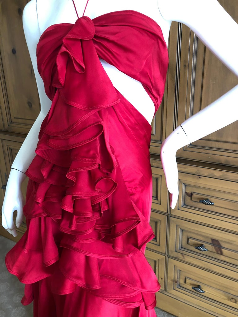 Yves Saint Laurent by Tom Ford 2003 Ruffled Red Silk Dress  For Sale 5