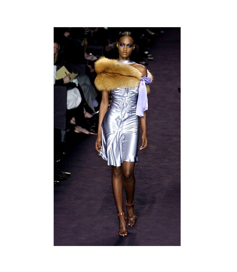 NEW Yves Saint Laurent by Tom Ford 2003 Silver Grey Silk Evening Cocktail Dress  For Sale 8