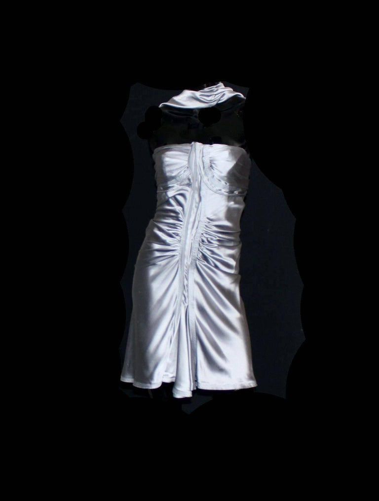 Women's NEW Yves Saint Laurent by Tom Ford 2003 Silver Grey Silk Evening Cocktail Dress  For Sale