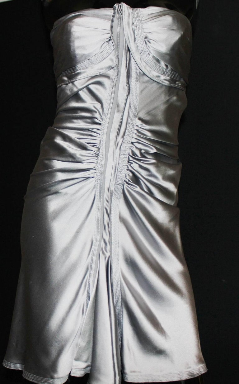 NEW Yves Saint Laurent by Tom Ford 2003 Silver Grey Silk Evening Cocktail Dress  For Sale 1