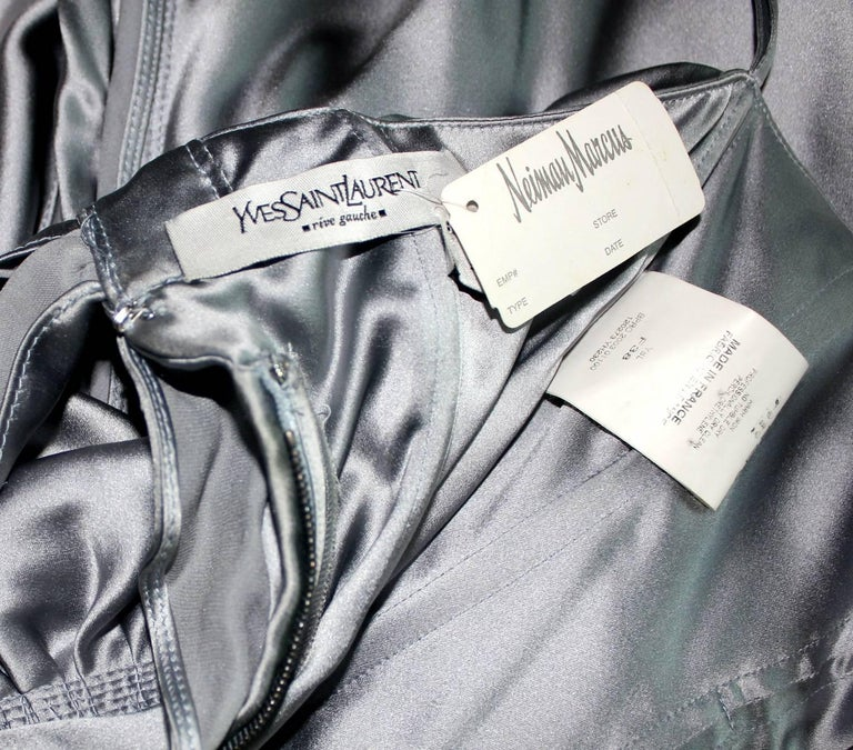 NEW Yves Saint Laurent by Tom Ford 2003 Silver Grey Silk Evening Cocktail Dress  For Sale 4