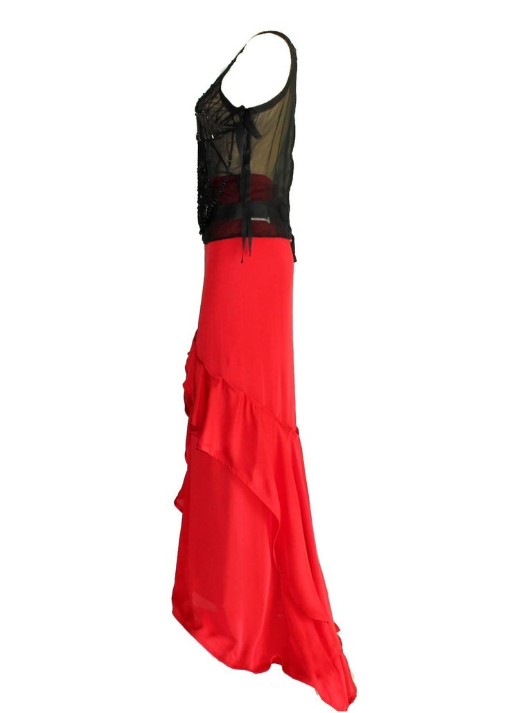 GORGEOUS COLLECTOR'S  YSL YVES SAINT LAURENT  BY TOM FORD  STUNNING EVENING ENSEMBLE  YVES SAINT LAURENT BY TOM FORD FW 2003 BEADED SILK TOP & MAXI SKIRT          A truly beautiful collector's item by Tom Ford for YSL         Silk tulle top heavily