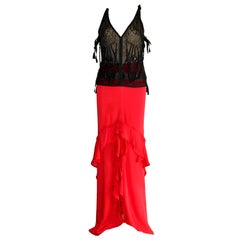 Yves Saint Laurent by Tom Ford Beaded Silk Top and Skirt Ensemble
