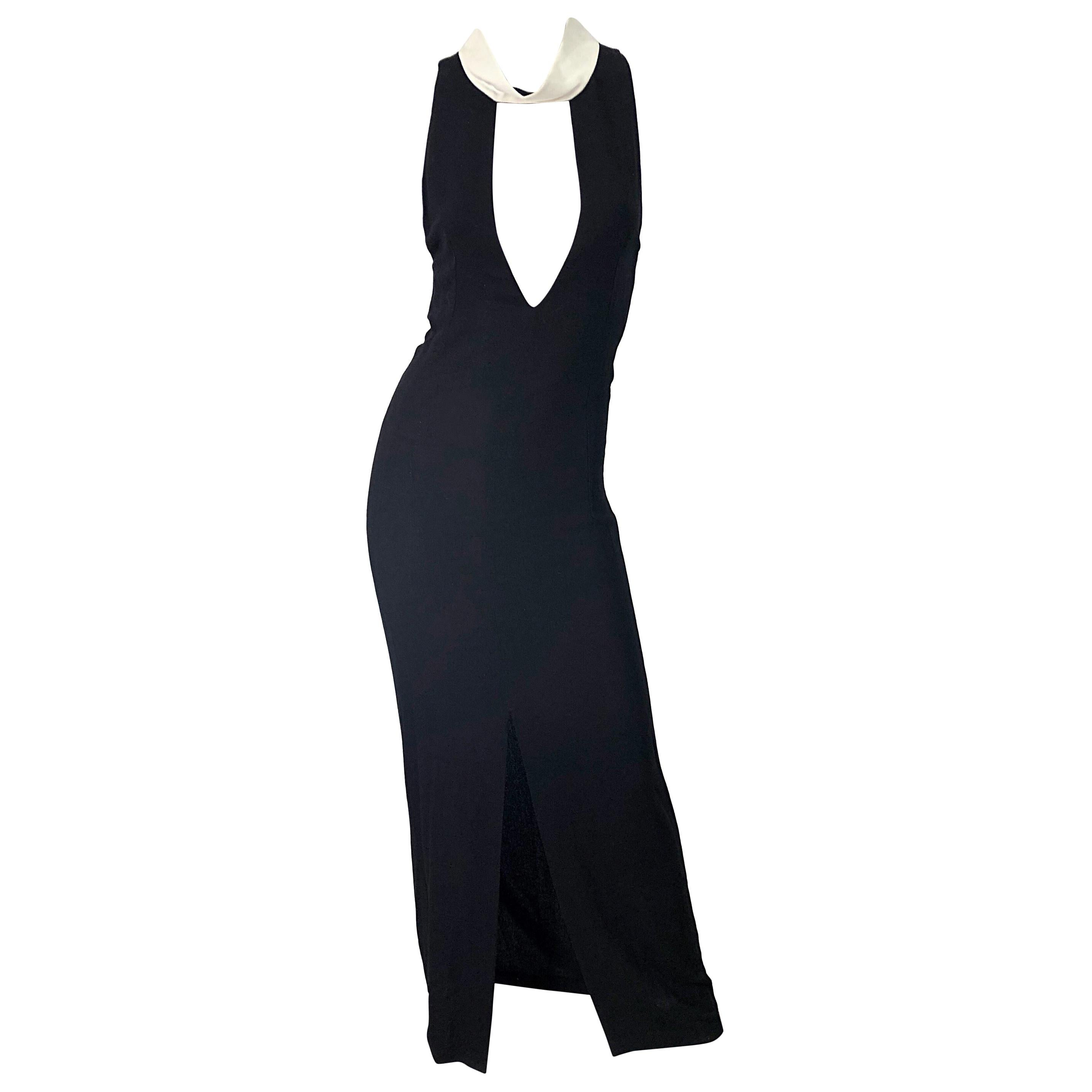 Yves Saint Laurent by Tom Ford Black and White Plunging Cut Out Sexy Gown Dress