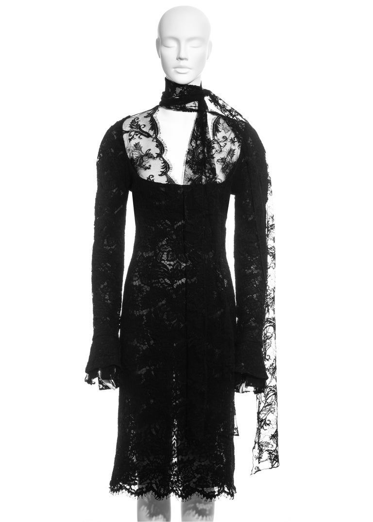 ▪ Black lace long-sleeve evening dress ▪ Silk organza lining  ▪ Long scarf neck fastening  ▪ Dropped pleated cuffs ▪ Bust 34