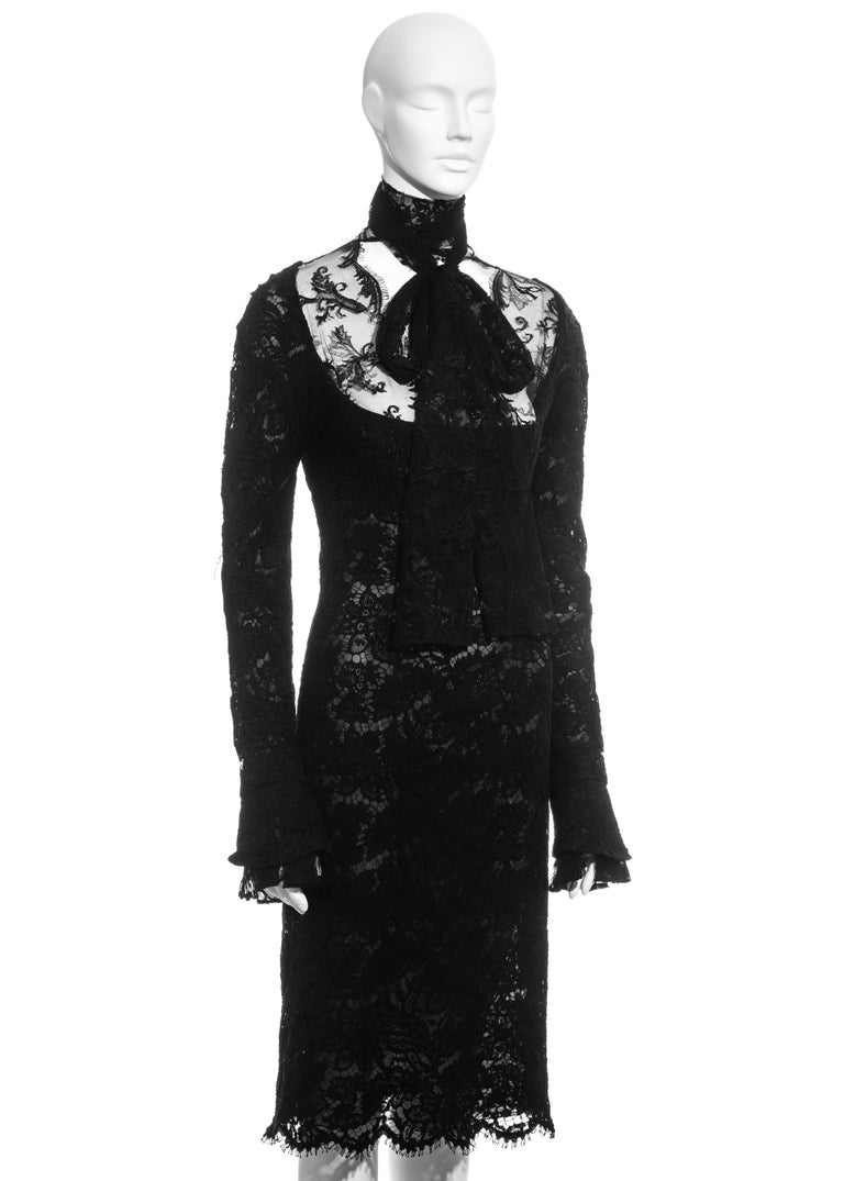 Black Yves Saint Laurent by Tom Ford black lace long-sleeve evening dress, fw 2002 For Sale