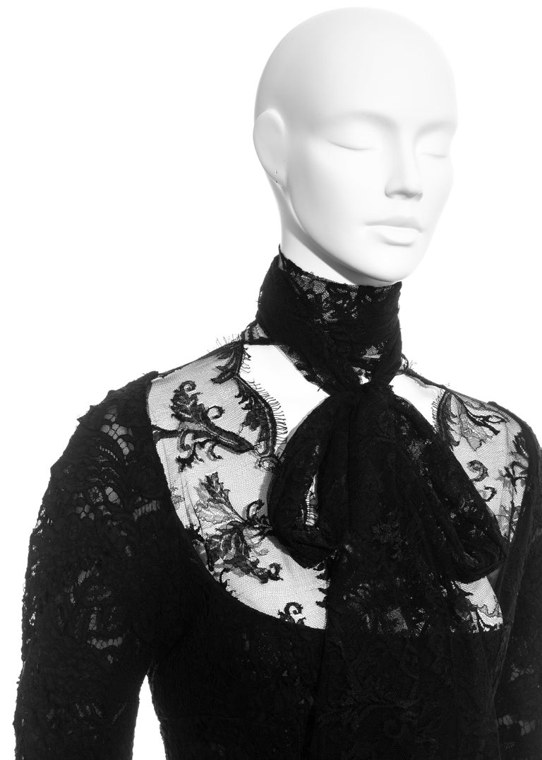 Women's Yves Saint Laurent by Tom Ford black lace long-sleeve evening dress, fw 2002 For Sale