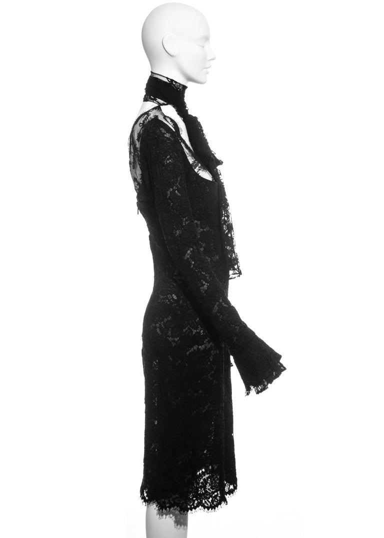 Yves Saint Laurent by Tom Ford black lace long-sleeve evening dress, fw 2002 For Sale 1