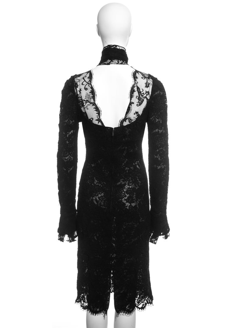 Yves Saint Laurent by Tom Ford black lace long-sleeve evening dress, fw 2002 For Sale 2