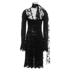 Yves Saint Laurent by Tom Ford black lace long-sleeve evening dress, fw 2002