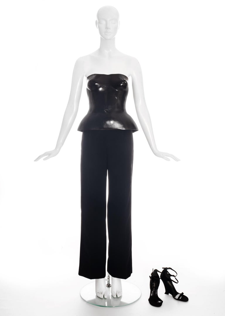 Yves Saint Laurent by Tom Ford black leather corset runway ensemble, ss 2001 For Sale 5