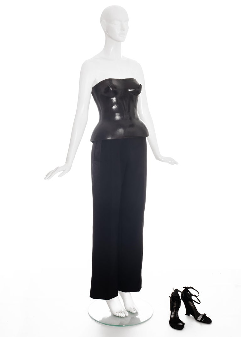 Black Yves Saint Laurent by Tom Ford black leather corset runway ensemble, ss 2001 For Sale
