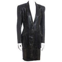 Yves Saint Laurent by Tom Ford black python blazer and skirt suit, ss 2001