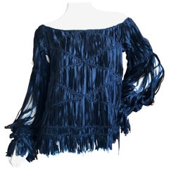 Yves Saint Laurent by Tom Ford Black Ribbon Fringe Top Fall 2002