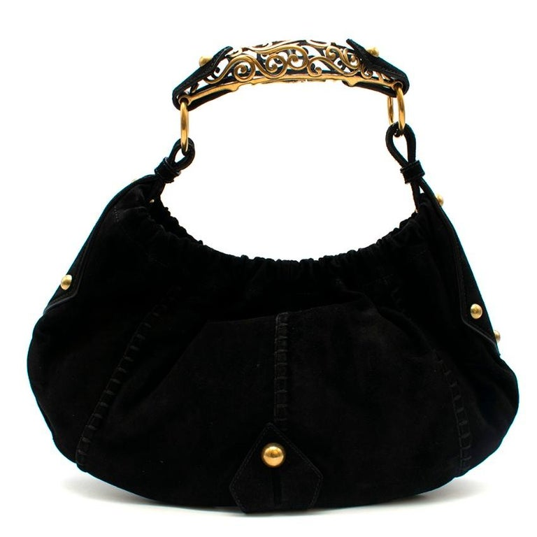 Yves Saint Laurent by Tom Ford - Black Suede Mombassa Shoulder Bag  -  Gold hardware - suede panels  - gold decorative horn handle  - runched opening  - gold ball embellishments  - relaxed shape  - satin lining with slip pocket - suede purse