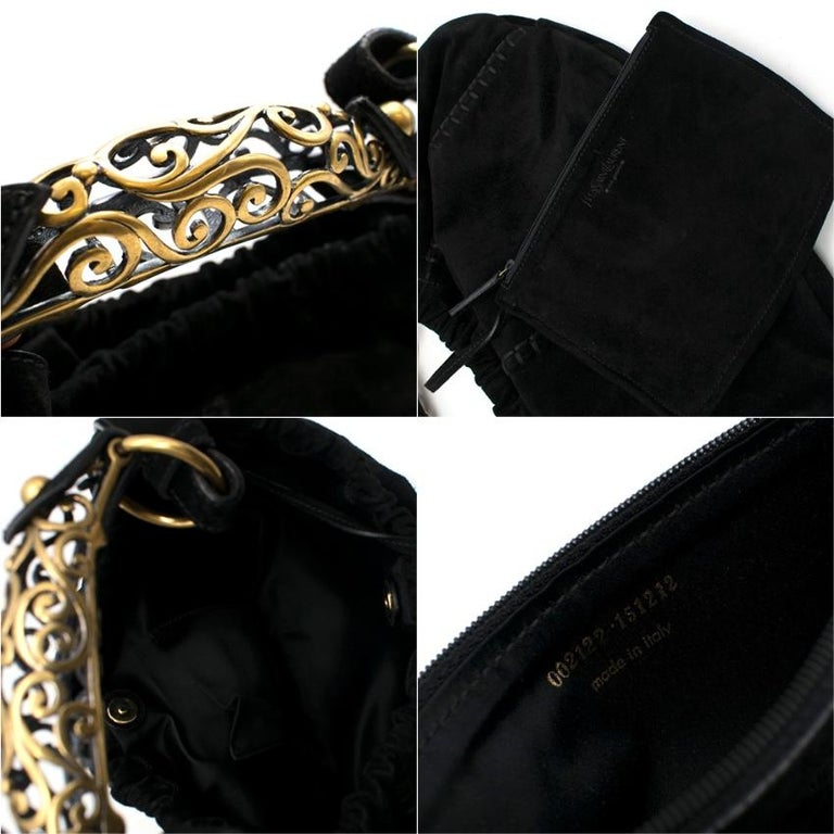 Yves Saint Laurent by Tom Ford Black Suede Mombassa Bag 35cm For Sale 2