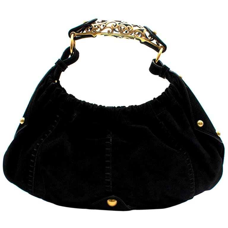 Yves Saint Laurent by Tom Ford Black Suede Mombassa Bag 35cm For Sale