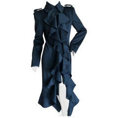 Yves Saint Laurent by Tom Ford Black Wool Ruffle Front Coat from Fall 2004