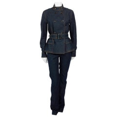 Yves Saint Laurent by Tom Ford circa 2003, denim jacket and trouser suit