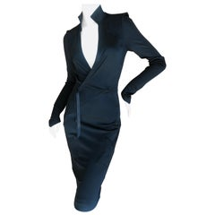 Yves Saint Laurent by Tom Ford Fall '04 Low Cut Pagoda Sleeve Little Black Dress