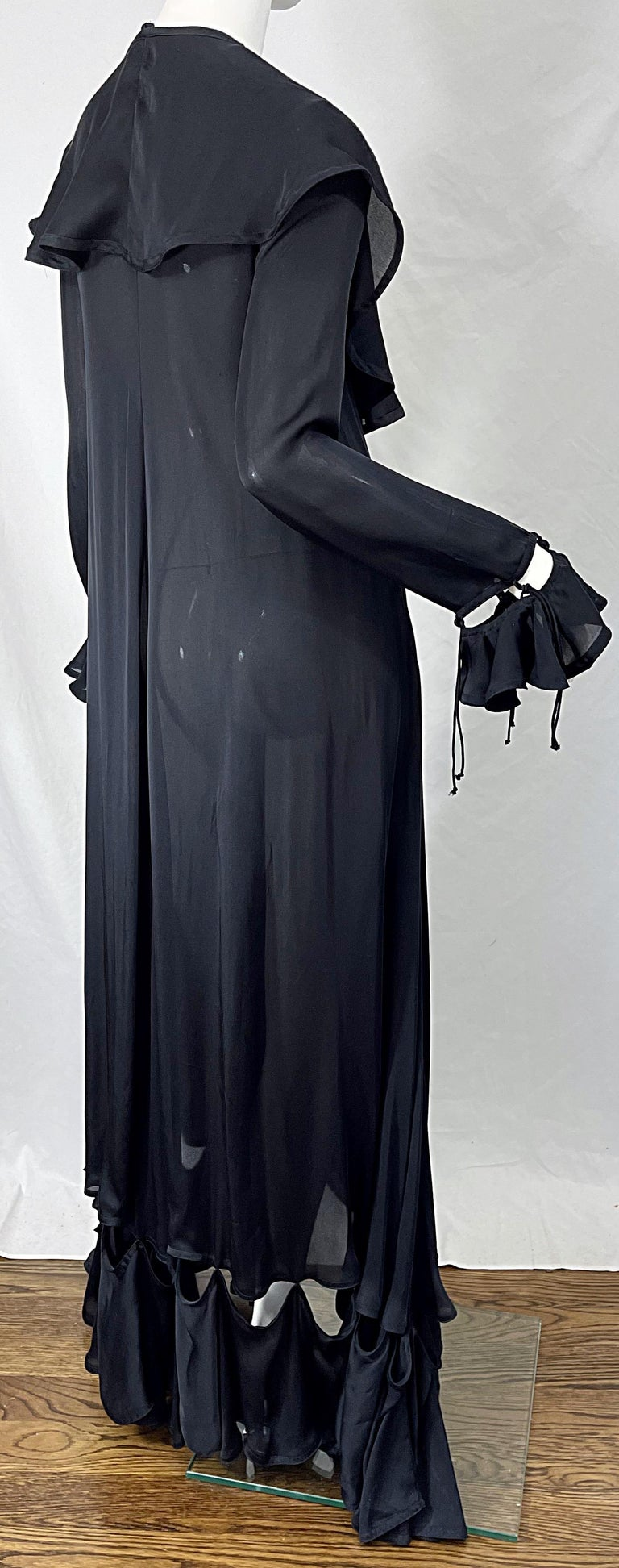 Yves Saint Laurent by Tom Ford Fall 2003 Runway Black Silk Chiffon Gown Size 38 For Sale 6