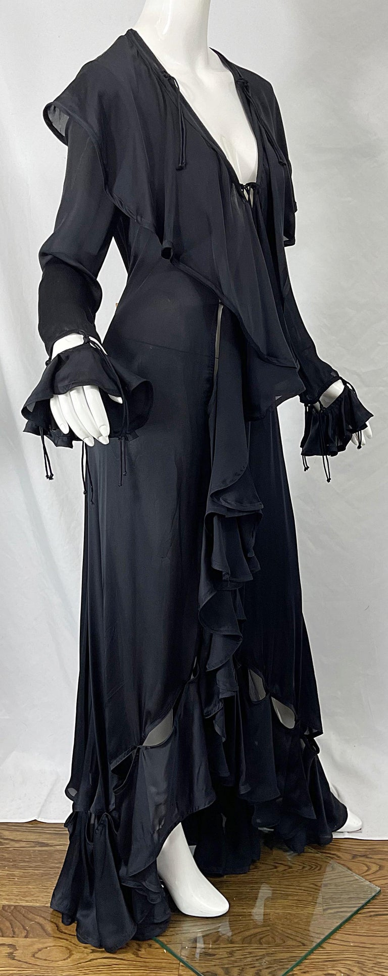 Yves Saint Laurent by Tom Ford Fall 2003 Runway Black Silk Chiffon Gown Size 38 For Sale 8
