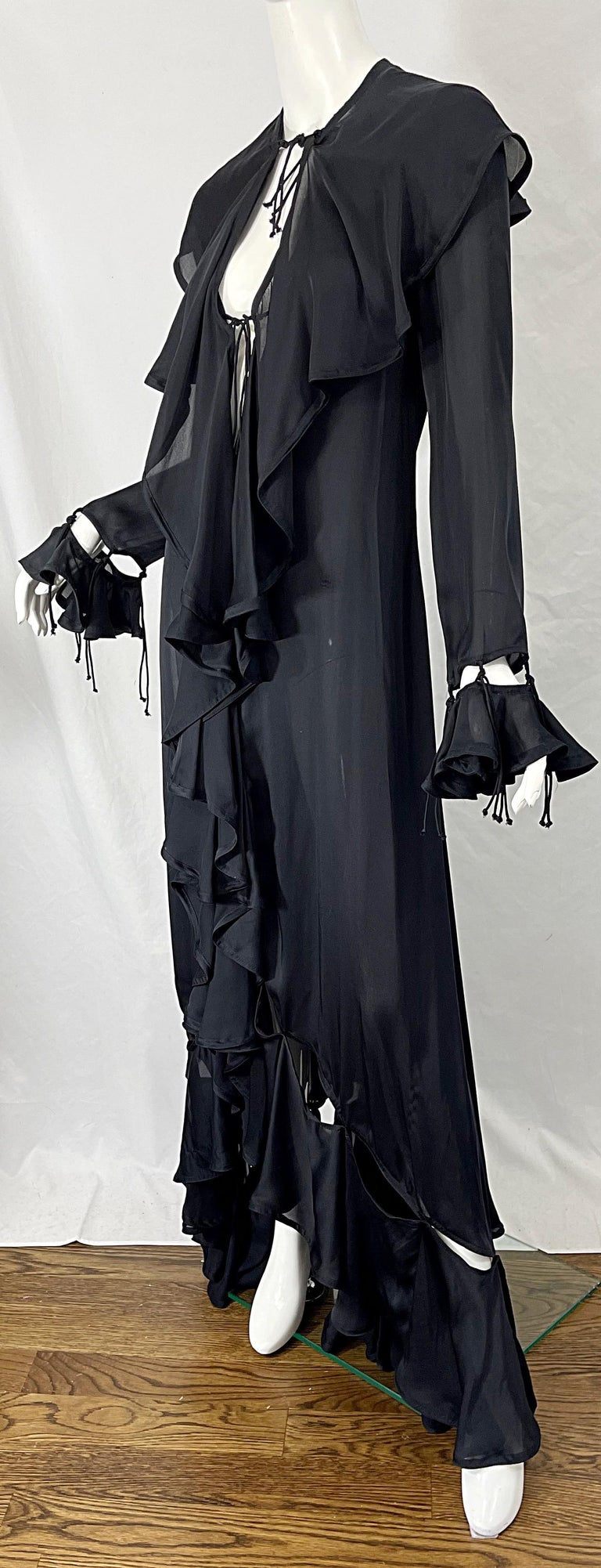 Yves Saint Laurent by Tom Ford Fall 2003 Runway Black Silk Chiffon Gown Size 38 For Sale 9