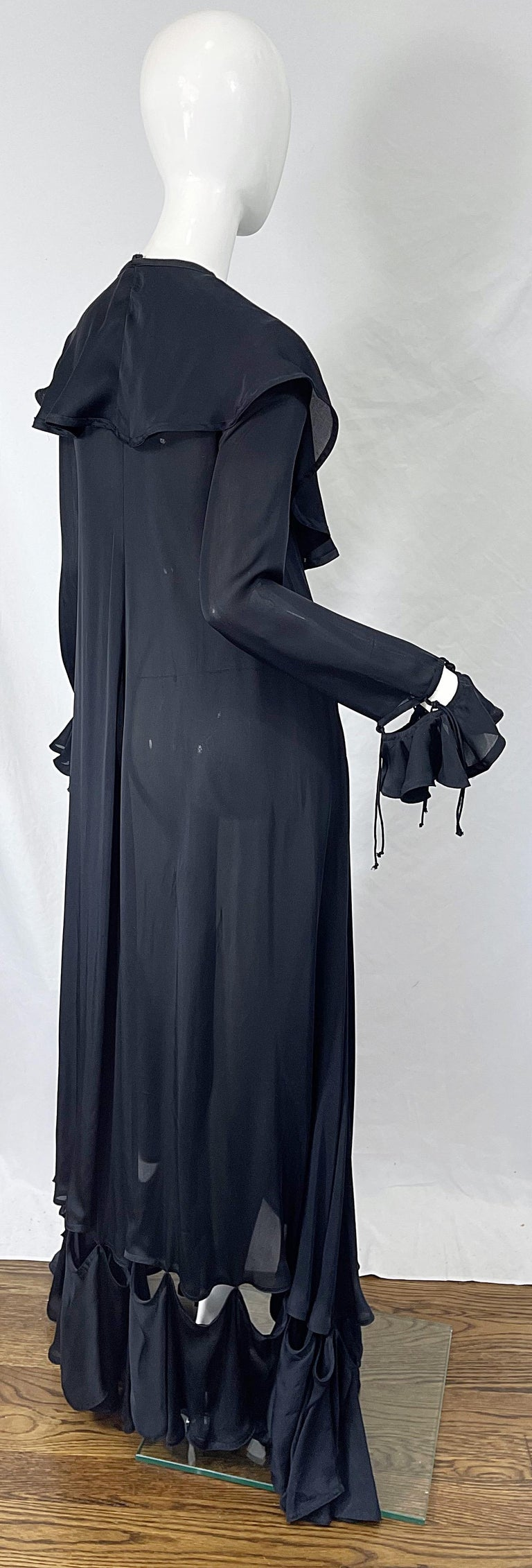 Yves Saint Laurent by Tom Ford Fall 2003 Runway Black Silk Chiffon Gown Size 38 For Sale 10