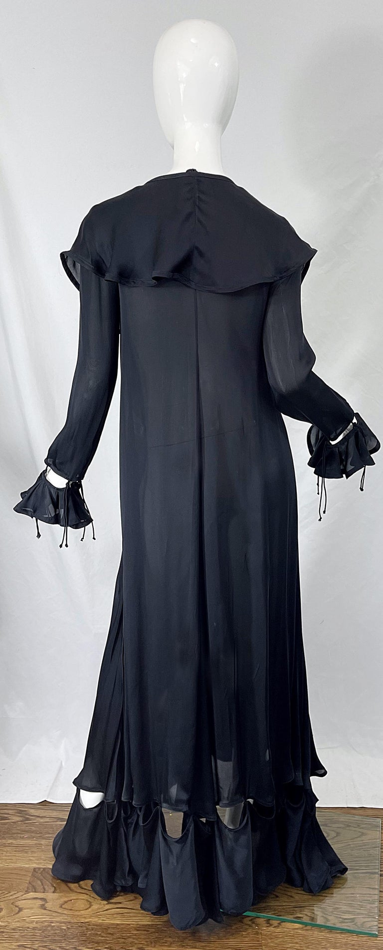 Yves Saint Laurent by Tom Ford Fall 2003 Runway Black Silk Chiffon Gown Size 38 For Sale 11