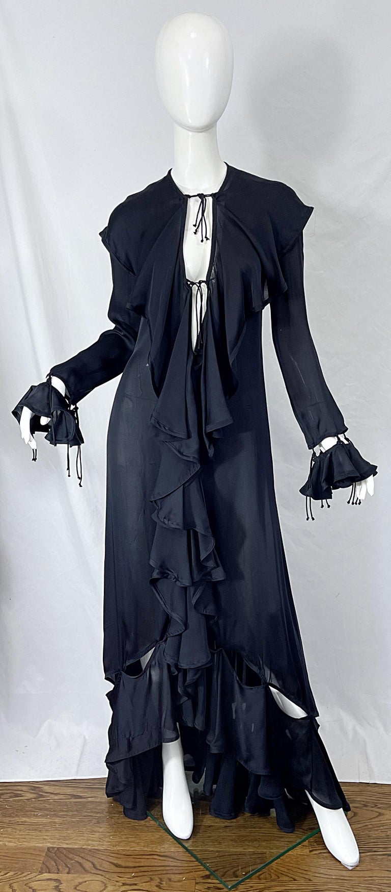 Yves Saint Laurent by Tom Ford Fall 2003 Runway Black Silk Chiffon Gown Size 38 For Sale 12